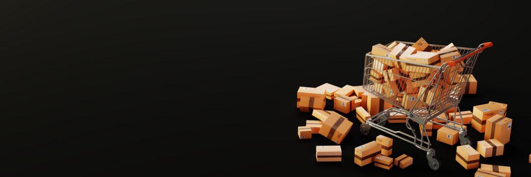 Trolley full of carton boxes, original 3d rendering