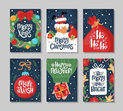 Set of Christmas and New Year greeting card with lettering hand drawn decorative elements on dark blue background.