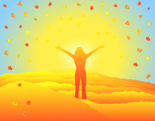 Autumn leaves in the air. Woman with hands up on top of mountain.Sun illuminating autumn meadows.Girl silhouette with raised arms. Editable vector illustration.Blue Ridge Mountains,North Carolina,USA.