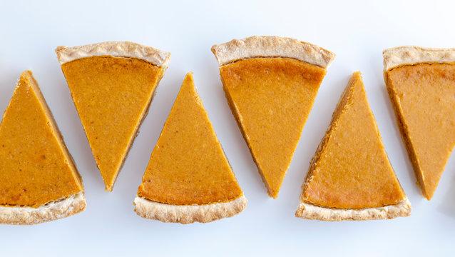 Fresh homemade pumpkin pie slices