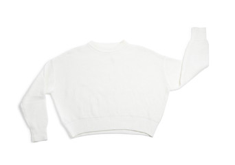 Fototapete - Warm knitted sweater on white background, top view