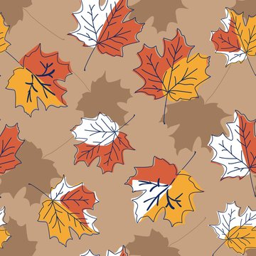Modern allover seamless repeat pattern  with tossed dark outlined maple leaves in fall colors and slhouettes on a tan background