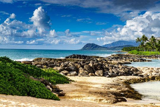 The scenic shoreline at the Ko Olina Resort complex of leeward Hawaii Disney Aulani, Marriott, and  Four seasons resorts