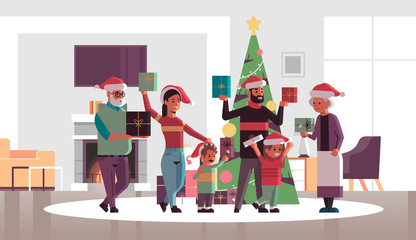 multi generation family with gift present boxes standing together merry christmas happy new year holiday celebration concept modern living room interior flat full length horizontal vector illustration