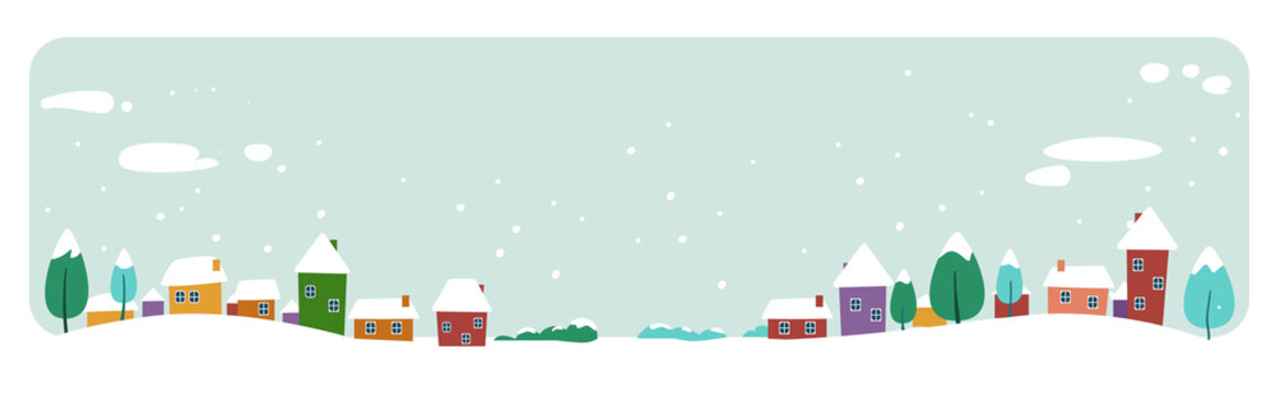cute houses snowy town on winter background merry christmas happy new year holiday celebration concept greeting card horizontal banner vector illustration