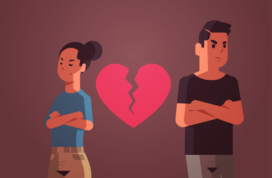 unhappy sad couple with broken heart in depression having relationship problem life crisis divorce concept man woman breaking up relation flat portrait horizontal vector illustration
