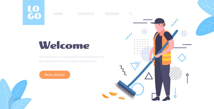 man cleaner sweeping road from leaves with broom male janitor in uniform cleaning service concept full length sketch horizontal copy space vector illustration