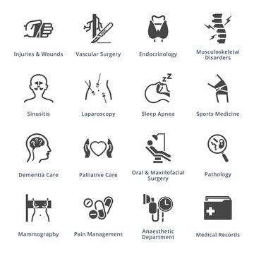 Medical Services & Specialties Icons Set 5 - Black Series