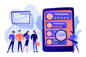 Tiny people analyst observing the workers performance on tablet. Performance rating, employee work measurement, work efficiency feedback concept. Pink coral blue vector isolated illustration