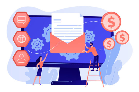 Cusromer receiving automated marketing message, tiny people. Marketing automation system, automated advertise message, marketing dashboard concept. Pink coral blue vector isolated illustration