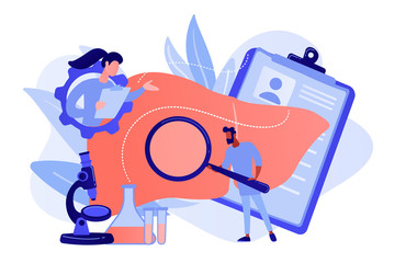 Doctors examining huge liver with magnifier and microscope. Cirrhosis, cirrhosis of the liver and liver disease concept on white background. Pinkish coral bluevector isolated illustration