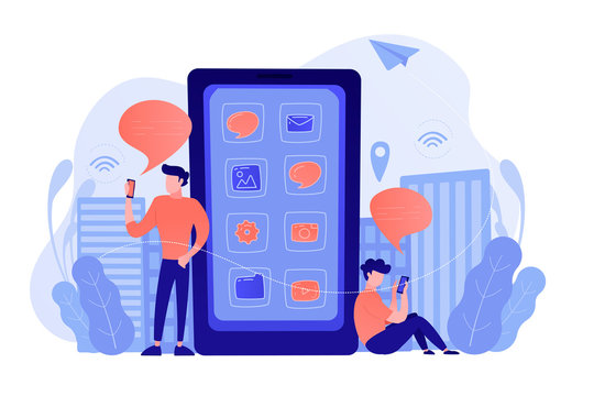 A mens near huge smartphone with application icons on the screen checking social media and news feeds. Social media, news tips, IoT and smart city concept. Vector illustration.