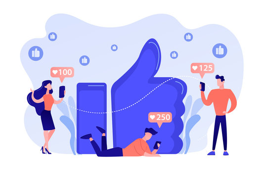 Tiny business people with smartphones and tablet get like notifications. Likes addiction, thumbs-up dependence, social media madness concept. Pinkish coral bluevector isolated illustration