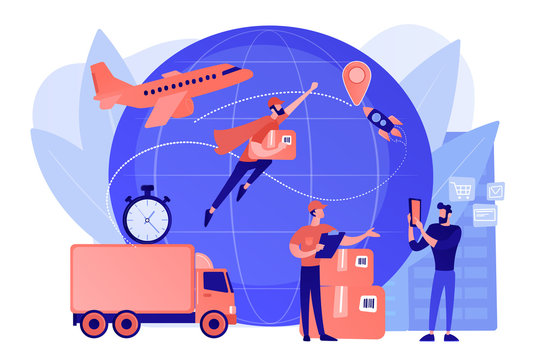Courier carrying order, delivering parcel. Express cargo delivery service, air freight logistics and distribution, global postal mail concept. Pinkish coral bluevector isolated illustration