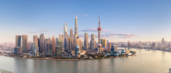 shanghai skyline panorama in sunset Fototapete