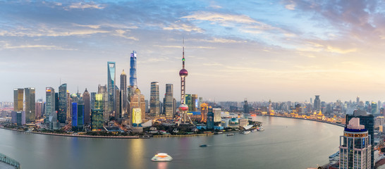 panoramic view of shanghai skyline at dusk
