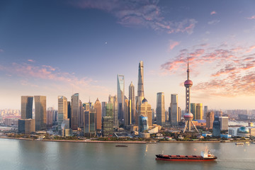 charming sunset view of shanghai skyline