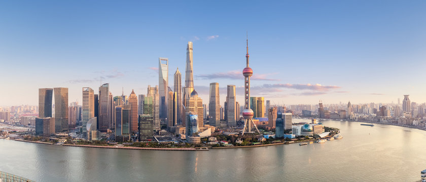 shanghai skyline panorama in sunset