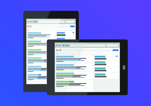 SEO search rankings on tablet device. Horizontal and vertical perspective