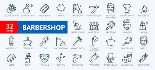 Obraz Barber shop elements - minimal thin line web icon set. Outline icons collection. Simple vector illustration. - fototapety do salonu