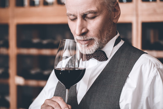 Sommelier Concept. Senior man standing holding glass smelling wine closed eyes joyful close-up