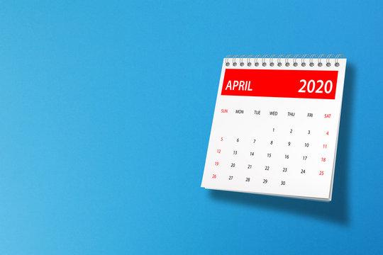 April 2020 calendar on blue background