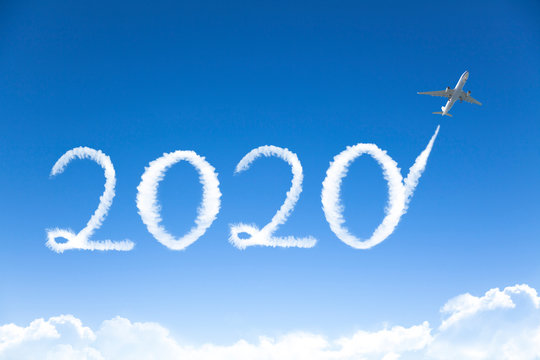 jet drawing 2020 cloud in sky. happy new year 2020 concepts