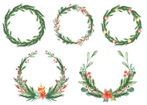Watercolor Christmas card with wreaths of spruce branches, berries, pine, holly