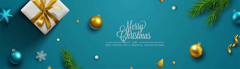 In de dag Bol Christmas background, banner, frame, header, background or greeting card design. Vector Illustration