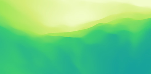 Landscape with green mountains. Mountainous terrain. Abstract nature background. Vector illustration.