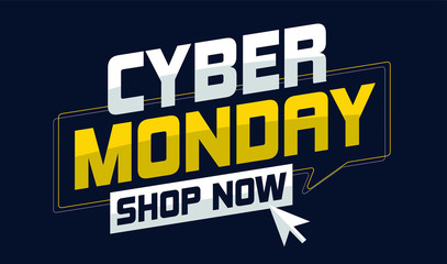 Cyber Monday sale deals vector illustration with mouse cursor. Online Shopping, e-commerce and Marketing Concept.