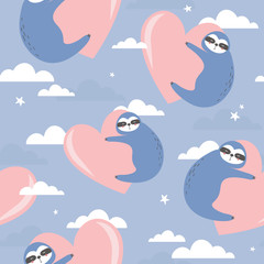 Seamless pattern, sloths with hearts, hand drawn overlapping backdrop. Colorful background vector. Illustration with animals, sky. Decorative colored wallpaper, good for printing