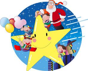 クリスマスと子供とサンタクロース