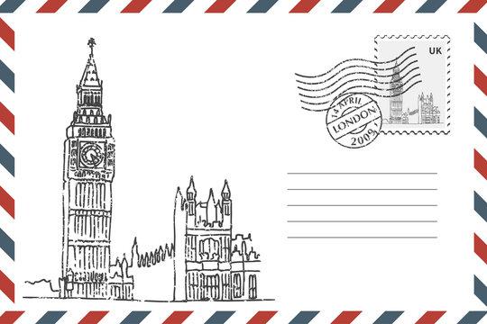 Envelope with hand drawn Big Ben