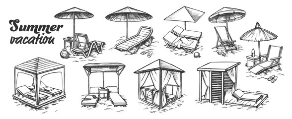 Summer Vacation Beach Furniture Set Retro Vector. Collection Of Different Comfortable Beach Chairs. Lounge And Resort Place Engraving Template Hand Drawn In Vintage Style Monochrome Illustrations