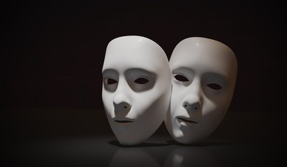 White theater masks on black background. 3D rendered illustratio