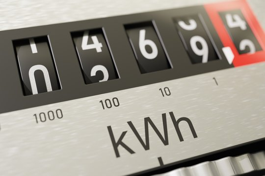 Close-up view on electrometer measuring electricity consumption.