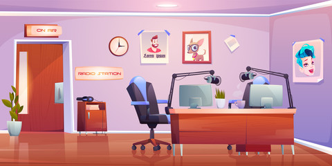 Radio station studio interior, empty room with table, microphones pc on air signboard and professional equipment for music programs and podcast broadcasting, media industry Cartoon vector illustration