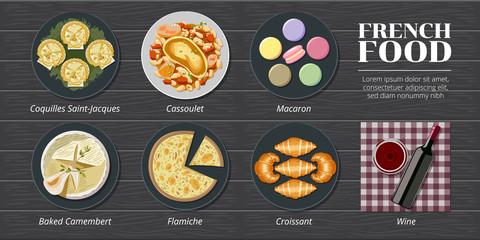 Coquille saint jacques,cassoulet,macaron,baked camembert,flamiche,croissant france food menu set collection graphic design