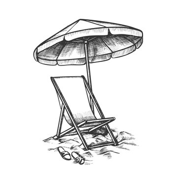 Deck Chair With Umbrella And Slippers Ink Vector. Relax Wooden And Fabric Chair, Parasol And Sneakers On Beach Sand. Coast Tool Engraving Template Designed In Retro Style Black And White Illustration