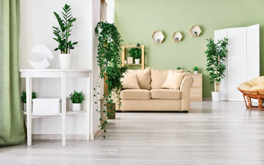 Stylish interior of room with green houseplants Wall mural