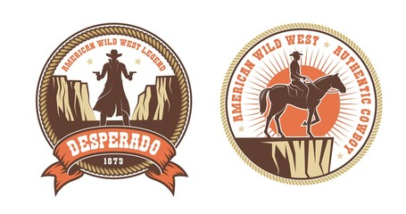 Western American logo with cowboy bandit and horse rider. Vector illustration.