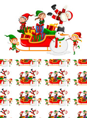 Seamless background design with Santa on sleigh