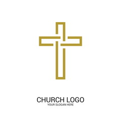 Church logo. Christian symbols. Cross of the Lord and Savior Jesus Christ