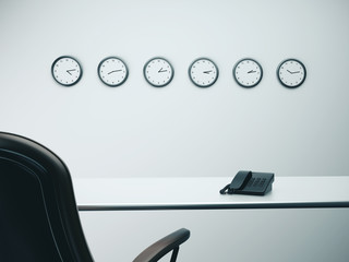 office with six wall clocks
