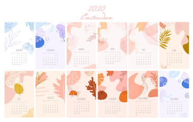 2020 Calendar with abstract minimalistic images.  Yearly Planner for all Months. Organizer and Schedule. Vector Illustration