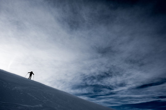 Alone in winter mountains