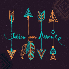 Foto op Aluminium Boho Stijl Hand drawn ethnic Arrows in Boho style.