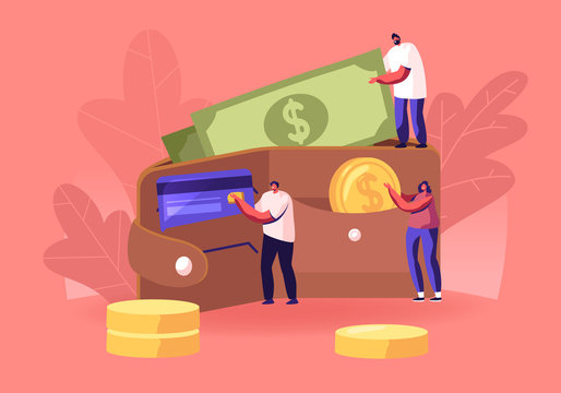 Successful Business People Put Money in Huge Purse. Tiny Men and Women Characters Holding Huge Golden Coins and Currency Bills. Savings, Cash and Credit Cards Concept. Cartoon Flat Vector Illustration
