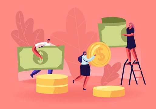 People Collecting and Saving Money Concept. Tiny Male and Female Characters Carry Huge Dollar Coins and Banknotes. Financial Success, Responsibility and Literacy. Cartoon Flat Vector Illustration